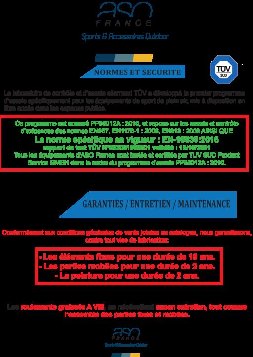 Normes et sécurité - Garnatie - Entretien -Maintenance - Aire de fitness de plein air - ASO France